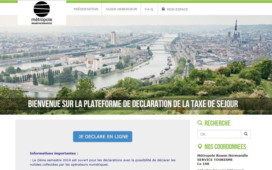 Portail taxe de séjour métropole de Rouen par Aloa